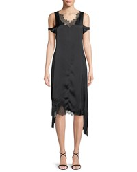 Helmut Lang Deconstructed Lace Slip Dress Black