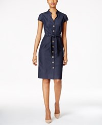 Connected Belted Button Front Denim Dress Navy