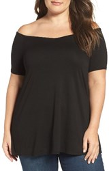Three Dots Plus Size Women's Off The Shoulder Swing Tee