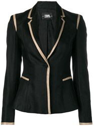 Karl Lagerfeld Tailored Twill Blazer With Piping Black