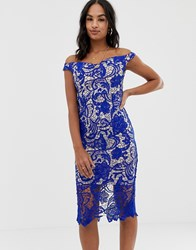 Missguided Lace Bardot Midi Dress Blue