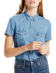 Levi's Medium Stone Washed Chambray Shirt Blue