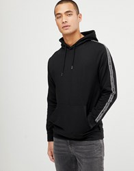 D Struct Slogan Tape Overhead Cotton Hoodie Black