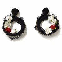 Ambar Gardenia Bolero Red And Black Earrings