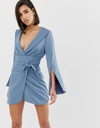 Lavish Alice Obi Belted Mini Dress In Dusty Blue