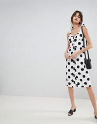Neon Rose Midi Sun Dress With Button Front In Spot White