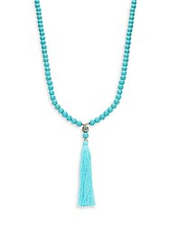 Kenneth Jay Lane Couture Collection Silvertone Beaded Tassel Necklace No Color