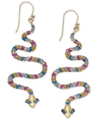 Kate Spade New York 14K Gold Plated Colored Crystal Snake Drop Earrings Multi