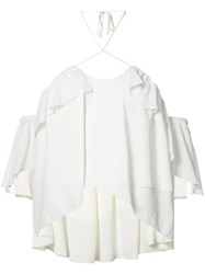 Cinq A Sept Off Shoulder Ruffle Top Women Polyester S White