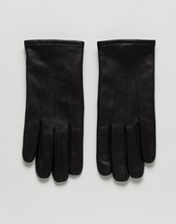 Selected Homme Leather Gloves In Black Comb 1 Black