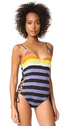 Mara Hoffman Crochet Lace Up Side One Piece Crochet Rainbow Stripe