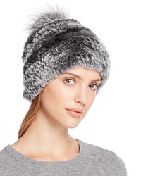 Surell Rabbit Fur Beanie With Pom Pom 100 Bloomingdale's Exclusive Chinchilla