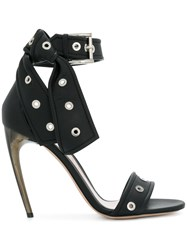 Alexander Mcqueen Horn Heel Sandals Lamb Skin Leather Black