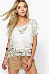 Boohoo Crochet 3 4 Sleeve Top Beige