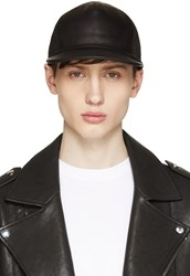 Balmain Black Leather And Canvas Cap