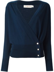 Tory Burch Wrap Cardigan Blue