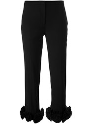 Victoria Beckham Floral Applique Trousers Black