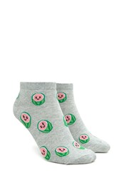 Forever 21 Happy Watermelon Ankle Socks Grey Multi