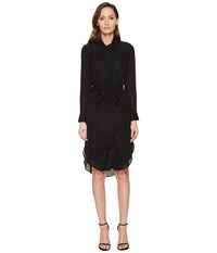 Thomas Wylde Phylicia Long Sleeve Button Down Dress Black Women's Dress