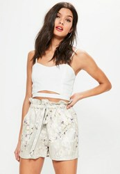 Missguided Grey Watercolour Floral Print Paperbag Waist Shorts