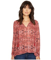 Lucky Brand Printed Parachute Top Red Multi Women's Clothing
