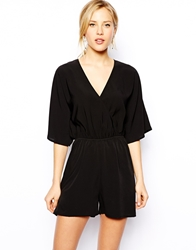 Asos Playsuit With Wrap Front And Kimono Sleeve Black