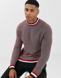 Only And Sons Stripe Tipped Crew Neck Jumper In Red