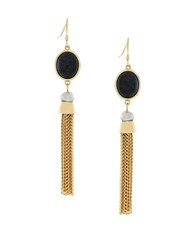 Cole Haan 10K Gold Plated Stone And Fringe Drop Earrings