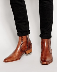 Jeffery West Western Zip Boots Tan