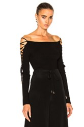 Cushnie Et Ochs Boatneck Lace Up Sleeve Bodysuit In Black