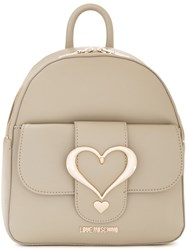 Love Moschino Logo Plaque Backpack Grey