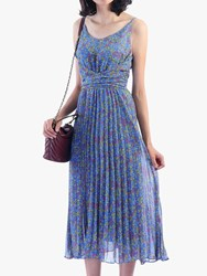 Jolie Moi Strappy Berry Print Pleated Dress Blue Floral