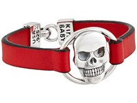 King Baby Studio Skull Centerpiece Leather Strap Bracelet Red