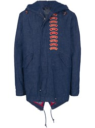 Mr And Mrs Italy Embroidered Patch Detail Coat Blue