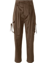 Balmain High Waist Trousers Brown