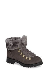 Jack Rogers Charlie Faux Shearling Lined Bootie Charcoal Suede