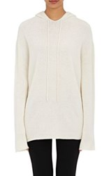 Helmut Lang Women's Hooded Cashmere Sweater Cream Ivory Cream Ivory