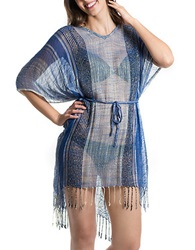 T And C Theodora And Callum Sheer Stripe Swim Cover Up Blue