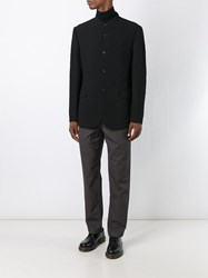 Issey Miyake Men Band Collar Textured Blazer Black