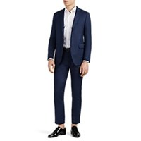 Lanvin Attitude Micro Checked Wool Two Button Suit Blue