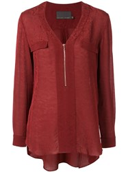 Ginger And Smart Panacea V Neck Blouse Red