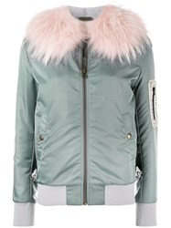 Mr And Mrs Italy Fur Lining Bomber Jacket Blue