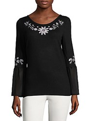 August Silk Embroidered Peasant Top Black Cream