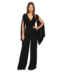 Gabriela Cadena Crepe Jumpsuit With Satin Waist And Cape Sleeve Black Women's Jumpsuit And Rompers One Piece