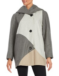 Gallery Colorblock Woolen Coat Beige Multi