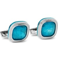 Tateossian Sterling Silver Apatite And Enamel Cufflinks Silver