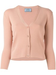 Prada V Neck Cardigan Pink Purple