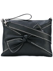 Red Valentino Studded Bow Shoulder Bag Women Calf Leather One Size Black