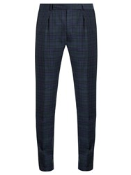 Paul Smith Checked Wool Blend Slim Leg Trousers Navy
