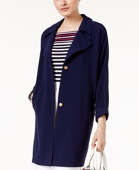Grace Elements Long Snap Front Blazer Evening Blue W Gold Snaps